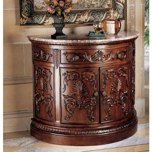 Image of Antique Replica Hand Carved Variegated Marble Topped Console Table (AE14)