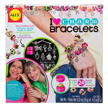 The ALEX Toys - Do-it-Yourself Wear, I Heart Charm Bracelets Craft Kit, 736L comes with enough supplies to let your aspiring jewelry design create (24) of her own beautiful beads! Make (2) bracelets loaded with colorful beads and charms! The ALEX Toy...