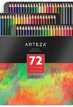 Livres Couvertures de Arteza Ensemble 72 Crayons De Couleur Qualité Professionnelle Pour Artistes Mines Résistantes En Boite Métal