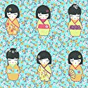 Kokeshi Japanese Wooden Dolls Fabric - berry pink, orange yellow, bordeaux purple and anise on a soft turquoise blue floral-patterned base cloth | 100% Cotton Designer Print | 155 cm (61 inches) wide | Per half metre