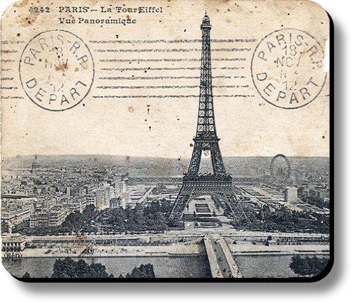 Schoolsupplies Decorative Mouse Pad Art Print Eiffel Tower Paris Stamped Postcard