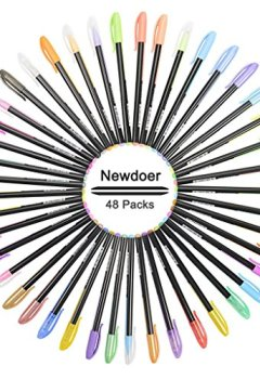 Livres Couvertures de newdoer Lot de 48stylos Encre gel Couleur, waterchalk, le meilleur de stylo gel pour adulte Coloriage livres, cordon, et d'écriture, avec pointe 1,0mm Gamme (12métallique Paillettes + 12+ 12+ 12waterchalk Fluo)