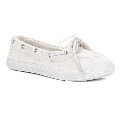 Twisted Women's Champion Casual Canvas Boat Shoe - WHITE, Size 6