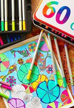 Livres Couvertures de 60 Feutres à pointes fines pour coloriage Zenacolor - 60 couleurs uniques (aucune en double) - Stylos Fineliner 0.4mm - Encre à base d'eau - Idéal pour la calligraphie, le dessin de précision, l'écriture, le coloriage pour adulte, BD, manga.