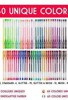 Livres Couvertures de 60 stylos gel Zenacolor avec étui - Boîte de Gel Pens extra large – 60 stylos bille avec gel de couleur UNIQUES (aucune en double) – Avec une encre de qualité supérieure qui coule facilement - Parfaits pour les livres de coloriage pour adultes, l'art thérapie et plus encore