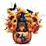 Kayomi Harai Scaredy Cat Always in Bloom Lighted Halloween Floral Centerpiece by The Bradford Exchange