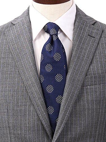 (ザ・スーツカンパニー) FILO D'ORO/ドット×織柄ネクタイ/Fabric by ITALY/ ネイビー×ホワイト