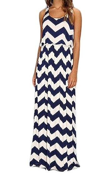 FINEJO Chevron Color Blocked Long Sleeve Empire Waisted Maxi Dress M