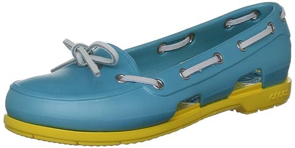 crocs Women's 14261 Beach Line Oxford,Aqua/Yellow,11 M US