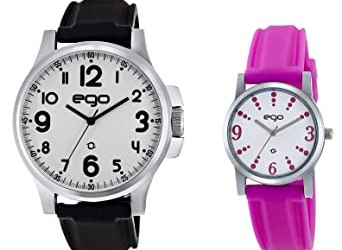 Maxima Ego Analog White Dial Men's and Women's Watch Combo