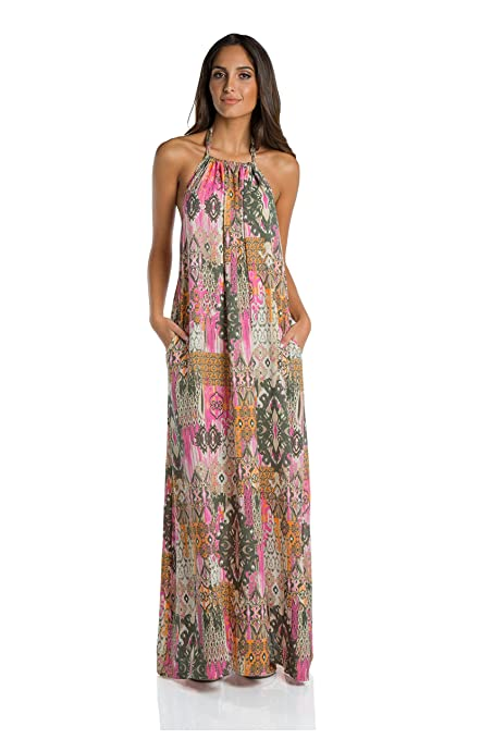 An Elan Usa Maxi Halter Tie Flowy Long Dress (Ry597) (Medium, Goddess Paris)