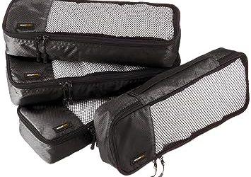 AmazonBasics Packing Cubes - Slim, Black (4-Piece Set)