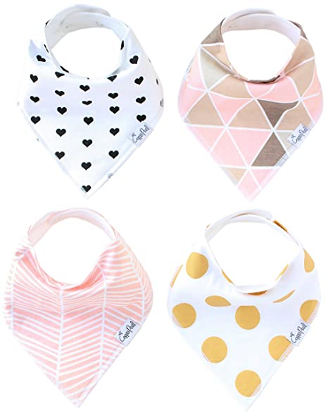 Baby Bandana Drool Bibs for Girl Blush 4 Pack of Absorbent Cotton Bibs Modern Baby Gift Set By Copper Pearl