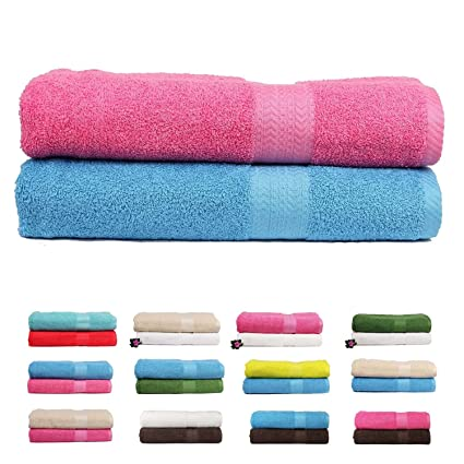 Trident 450GSM Premium Cotton 2 Pcs Bath Towels - Pink & Blue
