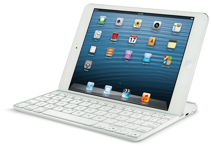 Logitech Ultrathin Keyboard Cover for iPad mini This magnetic bluetooth keyboard is ultra thin and doubles as cover for our iPads.