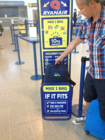 Make sure your luggage fits within the Ryanair luggage gauge or you will pay a hefty penalty.