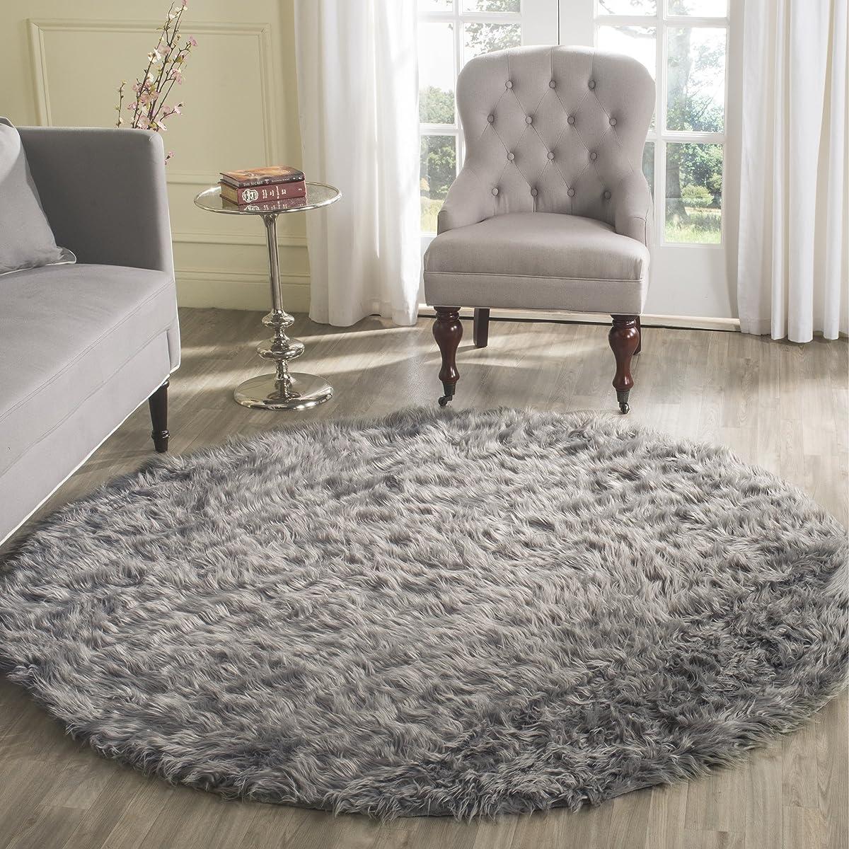 Safavieh Faux Silky Sheepskin FSS235D Grey Round Area Shag Rug 4 Diameter