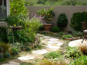 Repurposed broken concrete flagstone pathway to narrow side yard makeover by Shirley Bovshow