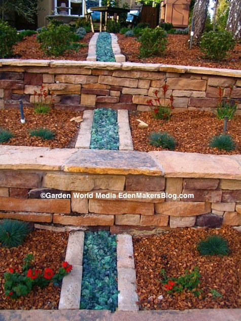 peach-pit-and-glass mulch in garden bed