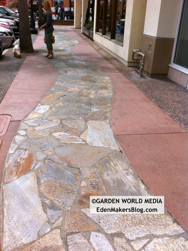 Flagstone inlayed walkway and colored concrete at the Forum Carlsbad