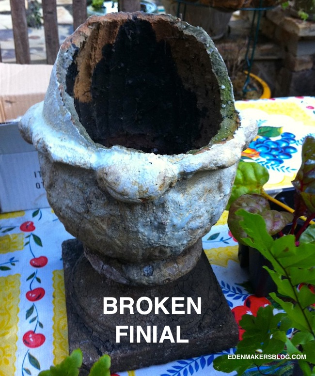 This Broken-finial- is recycled- as a garden-planter-edenmakersblog