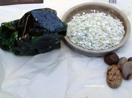 green-glass-boulder-pea-gravel-stones-mini-garden