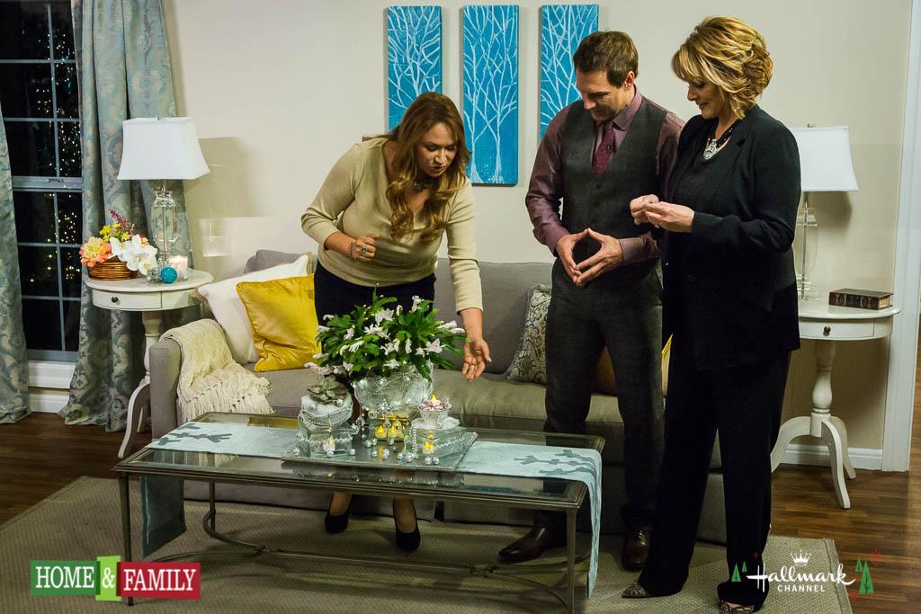 Hallmark Home and Family Shirley Bovshow designs christmas centerpiece for family room Mark Steines and Cristina Ferrare