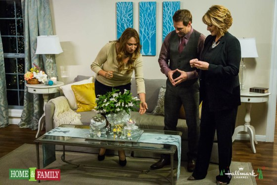 Hallmark Home and Family Shirley Bovshow designs christmas centerpiece for family room Mark Steines and Cristina Ferrare