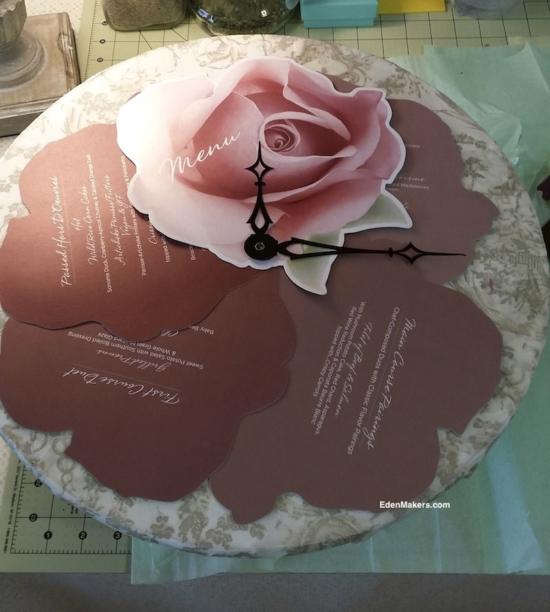 rose-menu-on-toile-paper-clock-face-edenmakers-blog