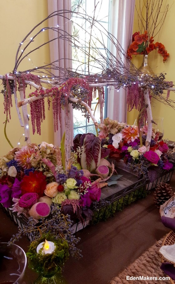 designer-shirley-bovshow-thanksgiving-centerpiece-birch-mini-arbor-with-bougainvillea-dahlias-roses-pink-red-purple-plums-edenmakers-blog