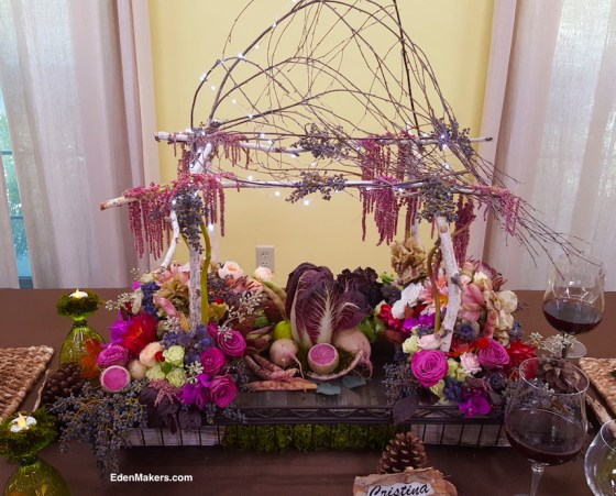 miniature-birch-tree-arbor-gazebo-thanksgiving-centerpiece-led-lighs-flowers-vegetables-fruit-edenmakers-blog