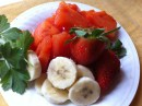 papaya banana and strawberries