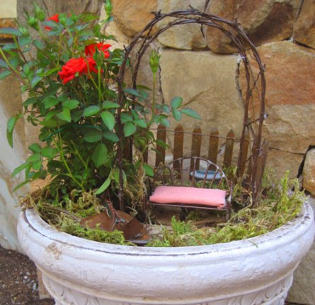 Miniature rose garden in a pot
