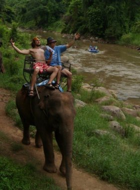 Riding Elephants in Thailand, 2007