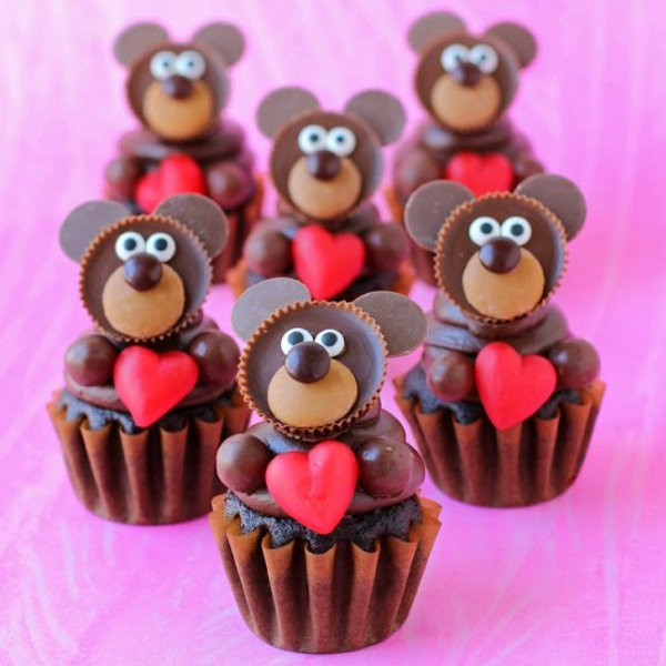 chocolate teddy bear cupcakes