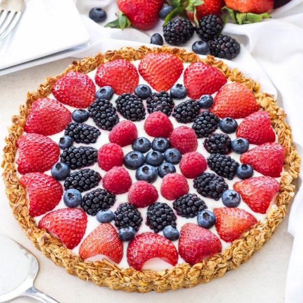 berries and yogurt breakfast tart