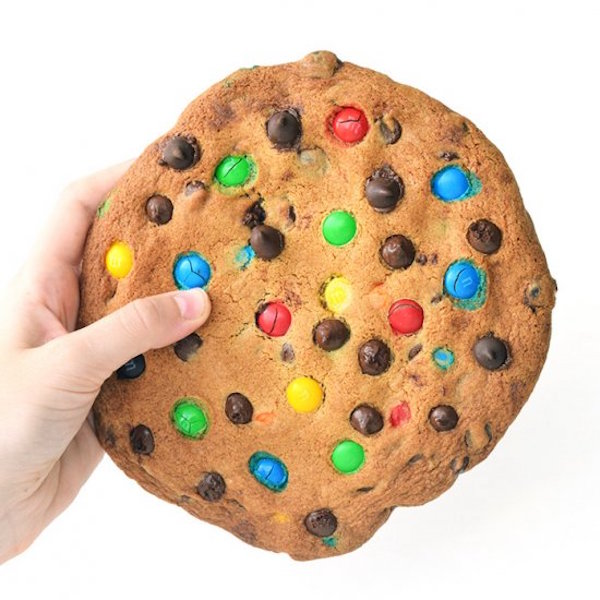 one giant m&m cookie