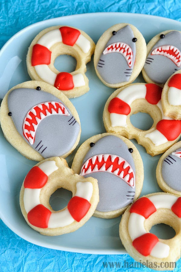 Shark Cookies And Life Ring Bouy Cookies Edible Crafts