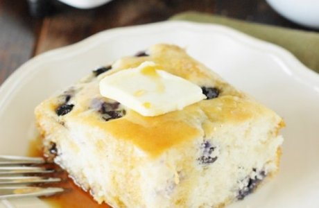 Fluffy Baked Blueberry Buttermilk Pancakes
