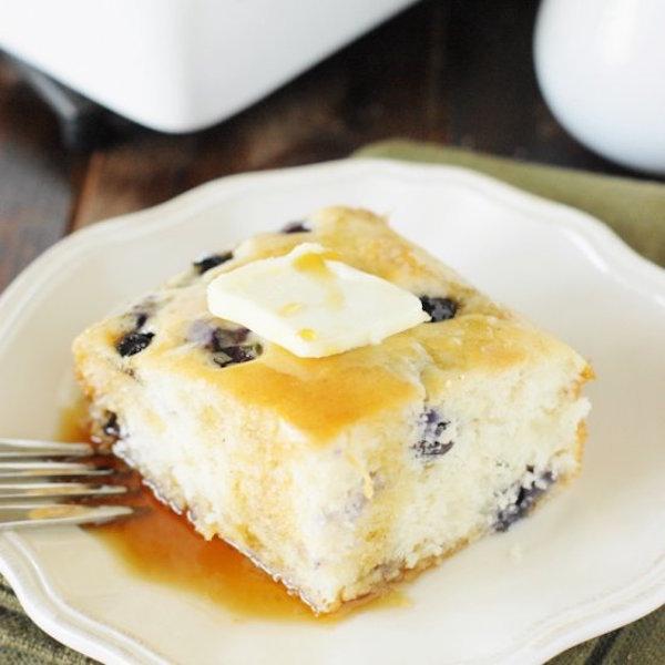 fluffy baked blueberry buttermilk pancakes