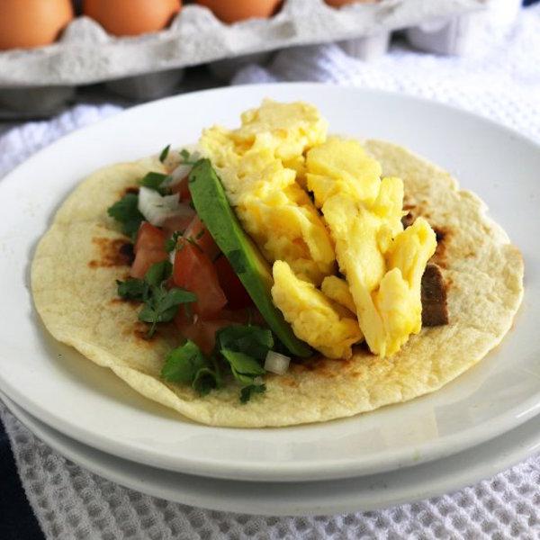 steak and egg breakfast taco