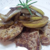 Brown Butter Pork with Caramelized Apples & Onions
