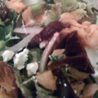 Beetroot, goats cheese and salmon salad.