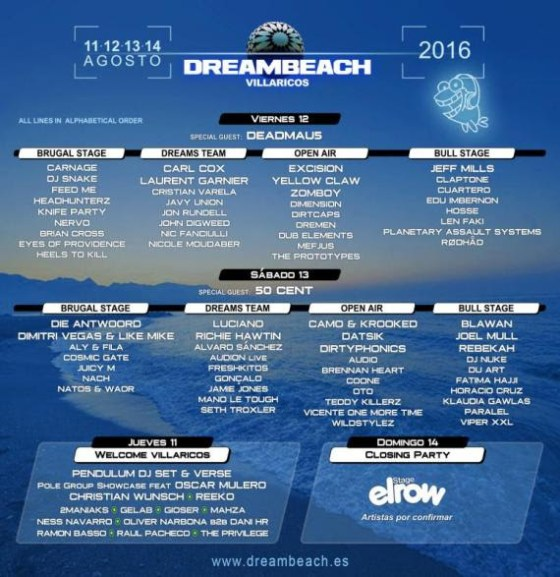 cartel por días Dreambeach EDMred