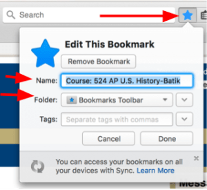 Editing a Bookmark in Firefox