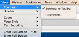 Turn on Bookmarks Bar in Firefox