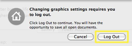 Apple System Preferences Log Out Dialog
