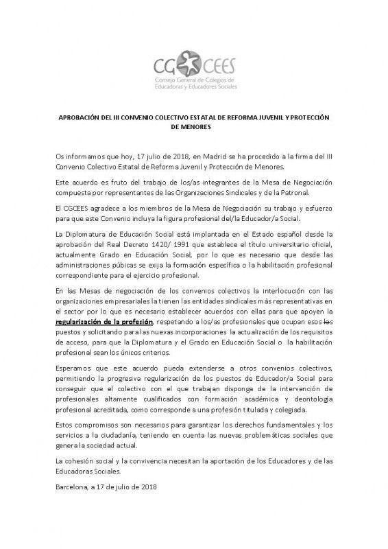 comunicado CGEES 07-18