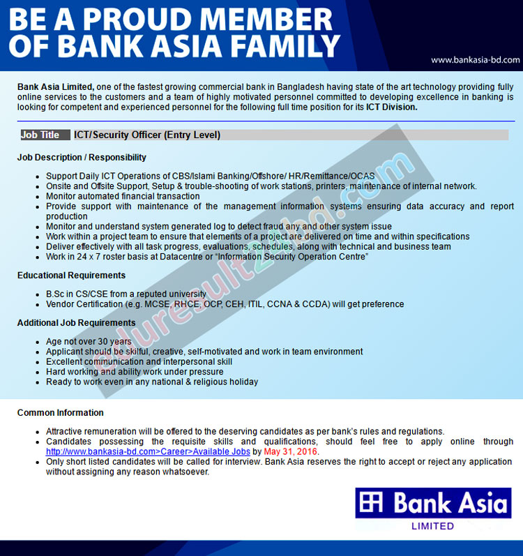 Bank Asia Limited Job Circular 2016