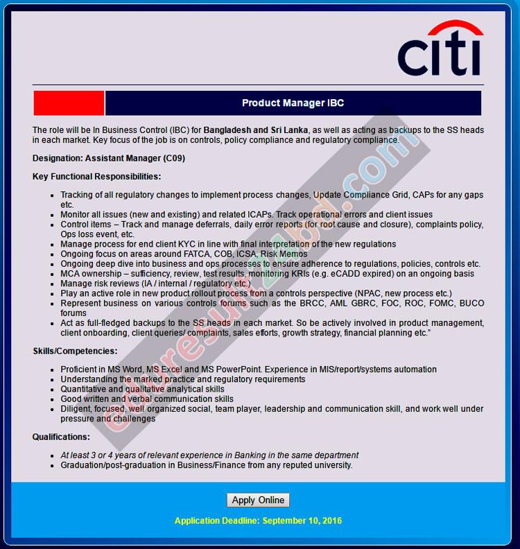 Citibank N.A. Bangladesh Job Circular 2016